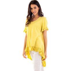 Koszulka w kolorze żółtym. Bluzki damskie fille de Coton, z bawełny, klasyczne, z okrągłym kołnierzem, z krótkim rękawem. W wyprzedaży za 86.95 zł.