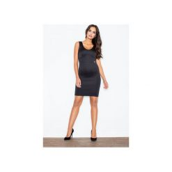 Sukienka M353 Czarny. Czarne sukienki damskie Figl, eleganckie, z klasycznym kołnierzykiem, bez rękawów. Za 129.00 zł.