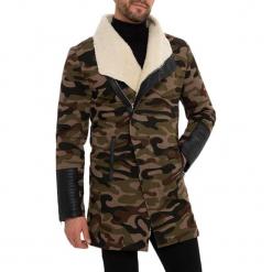 Płaszcz w kolorze czarno-beżowo-zielonym. Brązowe płaszcze męskie RNT23. W wyprzedaży za 349.95 zł.