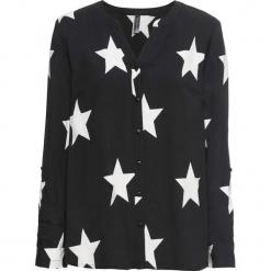Bluzka bonprix czarno-biały. Czarne bluzki damskie bonprix, z nadrukiem, z okrągłym kołnierzem. Za 89.99 zł.