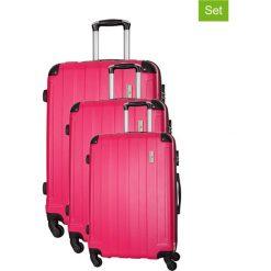 Zestaw walizek w kolorze różowym - 3 szt. Walizki męskie Platinium, z materiału. W wyprzedaży za 539.95 zł.