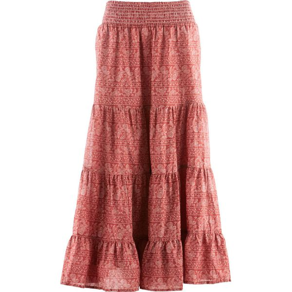 8d17cfed Długa spódnica, kolekcja Maite Kelly bonprix brązowy marsala - biały z  nadrukiem