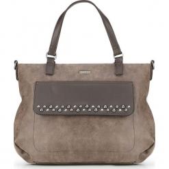 Torebka damska 87-4Y-708-4. Brązowe torebki do ręki damskie Wittchen, w paski, z materiału. Za 129.00 zł.