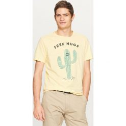 T-shirt z nadrukiem - Żółty. T-shirty damskie marki Reserved. W wyprzedaży za 39.99 zł.