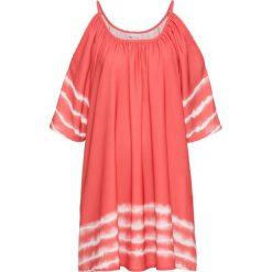 Sukienka z batikowym nadrukiem bonprix koralowy. Czerwone sukienki damskie bonprix, na lato, z nadrukiem, z krótkim rękawem. Za 79.99 zł.