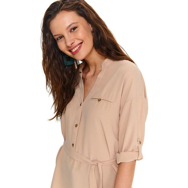 Koszula damska z wiązaniem o luźnym kroju Brązowe bluzki  KPXtf