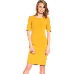 Musztardowa sukienka z krótkim rękawem BIALCON. Pomarańczowe sukienki damskie BIALCON, wizytowe, z krótkim rękawem. W wyprzedaży za 102.00 zł.