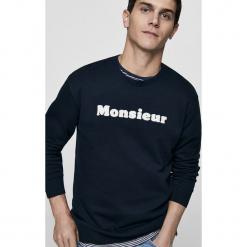 Mango Man - Bluza Silvesc. Czarne bluzy męskie Mango Man, z aplikacjami, z bawełny. Za 119.90 zł.