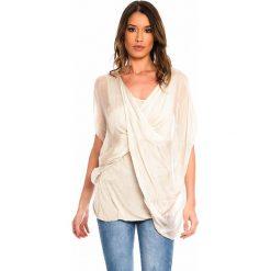 9ca05be5c3 Jedwabna tunika w kolorze beżowym. Brązowe tuniki damskie marki Silk  Premium