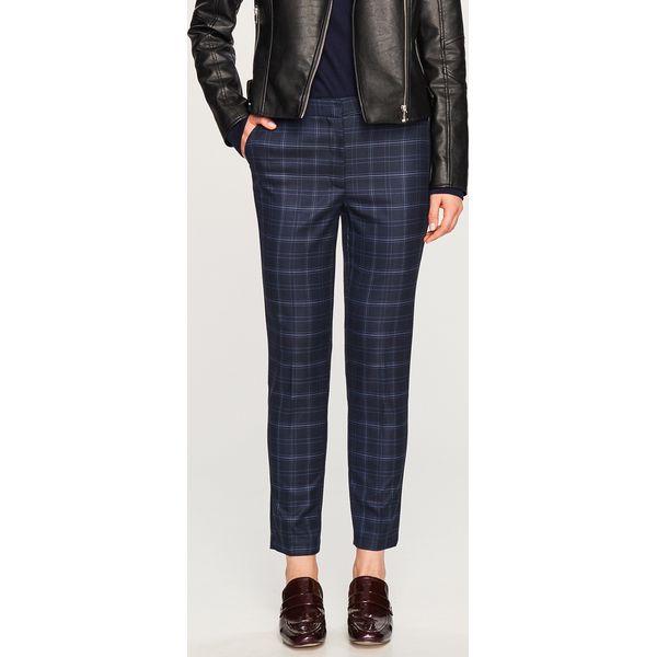 dde6b2669bb05a Spodnie w kratę - Granatowy - Niebieskie spodnie materiałowe damskie ...