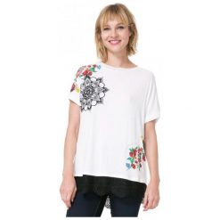 Desigual T-Shirt Damski Oporto M Kremowy. Białe t-shirty damskie Desigual. W wyprzedaży za 139.00 zł.