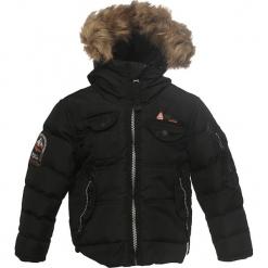 Kurtka zimowa w kolorze czarnym. Czarne kurtki i płaszcze dla chłopców Peak Mountain, na zimę, prążkowane. W wyprzedaży za 195.95 zł.