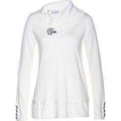 Sweter z kaszmirem bonprix biały. Białe swetry damskie bonprix, z kaszmiru. Za 149.99 zł.