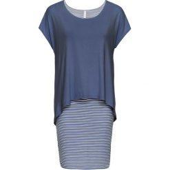 Sukienka shirtowa z częścią spódnicową w paski bonprix indygo-matowy srebrny. Niebieskie sukienki damskie bonprix, w paski, z podwójnym kołnierzykiem. Za 89.99 zł.