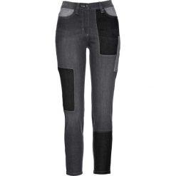 Dżinsy ze stretchem 7/8 patchworkowe bonprix szary denim. Jeansy damskie marki bonprix. Za 109.99 zł.