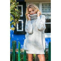 Sukienka tunika z golfem fb577. Szare tuniki damskie Fobya, na zimę, z wełny, z golfem, z długim rękawem. Za 149.00 zł.