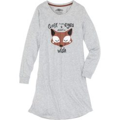 Koszula nocna, bawełna organiczna bonprix jasnoszary melanż z nadrukiem. Szare koszule nocne damskie bonprix, melanż, z bawełny. Za 59.99 zł.