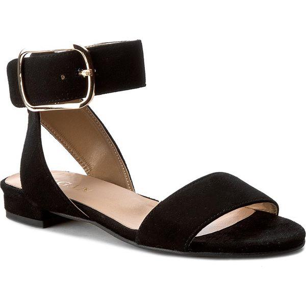 Czarne sandały damskie z weluru