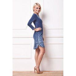 Sukienka a'la jeans a165. Szare sukienki damskie La' Aurora, w koronkowe wzory, z jeansu. Za 189.90 zł.