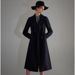 Płaszcz z domieszką wełny - Granatowy. Niebieskie płaszcze damskie Reserved, z wełny. Za 299.99 zł.