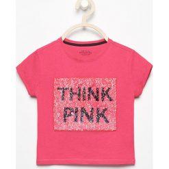 T-shirt z dwustronnymi cekinami różowa pantera - Różowy. T-shirty damskie marki bonprix. W wyprzedaży za 24.99 zł.