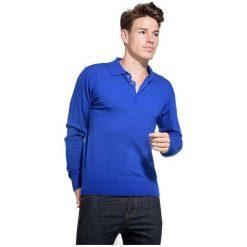 William De Faye Sweter Męski M Niebieski. Niebieskie swetry przez głowę męskie William de Faye, z kaszmiru, z klasycznym kołnierzykiem. W wyprzedaży za 215.00 zł.