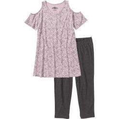 Piżama z legginsami 3/4 bonprix matowy jasnoróżowy - szary z nadrukiem. Piżamy damskie marki MAKE ME BIO. Za 32.99 zł.