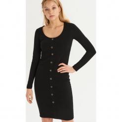 Bawełniana sukienka z guzikami - Czarny. Czarne sukienki damskie Sinsay, z bawełny. Za 69.99 zł.