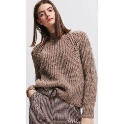 Sweter z domieszką wełny i moheru - Beżowy. Brązowe swetry damskie Reserved, z wełny. Za 159.99 zł.
