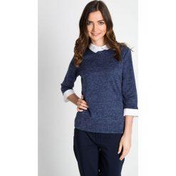 Granatowy sweter z kołnierzykiem i mankietami QUIOSQUE. Niebieskie swetry damskie QUIOSQUE. W wyprzedaży za 76.00 zł.