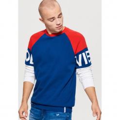 Trójkolorowa bluza - Granatowy. Niebieskie bluzy męskie Cropp. Za 89.99 zł.