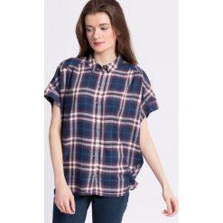 Only - Koszula. Szare koszule damskie Only, w kratkę, z tkaniny, casualowe, z klasycznym kołnierzykiem, z krótkim rękawem. W wyprzedaży za 69.90 zł.