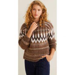 Mango - Sweter Daddy. Brązowe swetry damskie Mango, z dzianiny, z okrągłym kołnierzem. Za 229.90 zł.