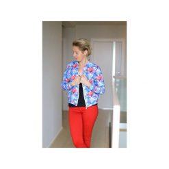 Damska wzorzysta bluza dresowa w kwiaty, kurtka bomberka na suwak. Szare bluzy damskie Ekoszale, w kwiaty, z dresówki. Za 170.00 zł.
