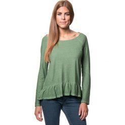Koszulka w kolorze zielonym. Bluzki damskie Benetton, z bawełny, z okrągłym kołnierzem, z długim rękawem. W wyprzedaży za 64.95 zł.