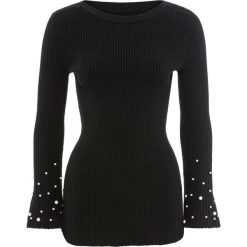Sweter z rozkloszowanymi rękawami i perełkami bonprix czarny. Swetry damskie marki KALENJI. Za 99.99 zł.