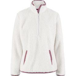 Miękka bluza z polaru ze stójką bonprix biel wełny. Białe bluzy damskie bonprix, z polaru. Za 89.99 zł.