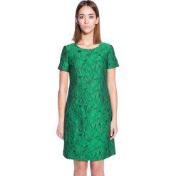 Zielona trapezowa sukienka z krótkim rękawem BIALCON. Zielone sukienki damskie BIALCON, wizytowe, z krótkim rękawem. W wyprzedaży za 215.00 zł.
