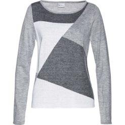 Sweter bonprix szaro-biel wełny. Szare swetry damskie bonprix, z dzianiny. Za 84.99 zł.