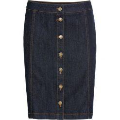 Spódnica dżinsowa ze stretchem i plisą guzikową bonprix ciemnoniebieski. Niebieskie spódnice damskie bonprix. Za 49.99 zł.