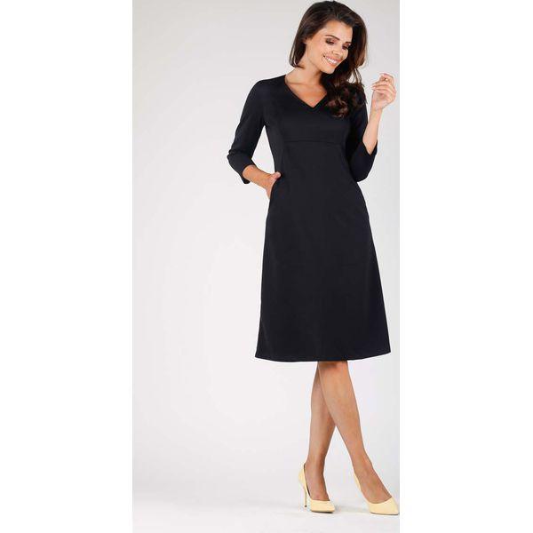 6d8a62e0cb Czarna Trapezowa Wizytowa Sukienka Midi z Kieszeniami - Sukienki ...