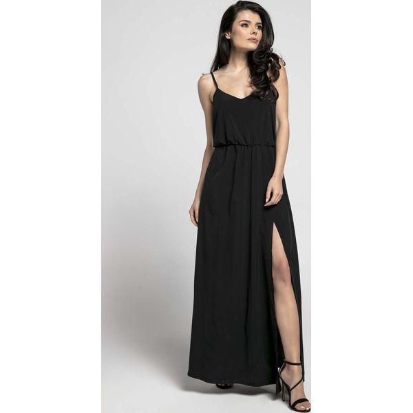 b2f732b738 Czarna Zwiewna Maxi Sukienka na Cienkich Ramiączkach z Rozcięciem ...