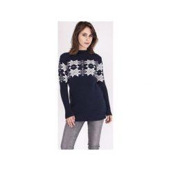 Sweter w skandynawskie wzory, SWE128 granat/ecru MKM. Białe swetry damskie Mkm swetry, na zimę, z dzianiny. Za 143.00 zł.