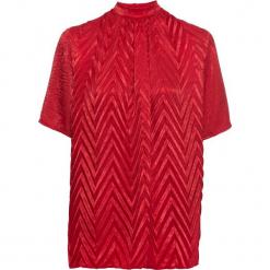 Bluzka shirtowa w strukturalny wzór bonprix czerwony. Czerwone bluzki damskie bonprix, ze stójką. Za 119.99 zł.
