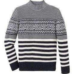 Sweter wzorzysty Regular Fit bonprix czarno-biel wełny. Czarne swetry przez głowę męskie bonprix, z wełny. Za 129.99 zł.
