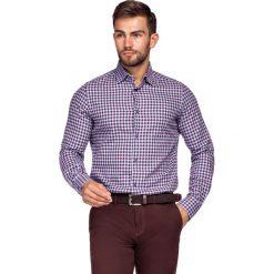 Koszula Bordowo-Niebieska w Kratę Mercury. Czerwone koszule męskie LANCERTO, w kratkę, z bawełny. Za 299.90 zł.