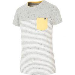 T-shirt dla małych chłopców JTSM107 - CIEMNY SZARY. Szare t-shirty dla chłopców 4F JUNIOR, z bawełny. W wyprzedaży za 29.99 zł.