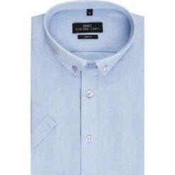 Koszula SIMONE KLNS500011. Niebieskie koszule męskie Giacomo Conti, na lato, z bawełny, button down, z krótkim rękawem. Za 149.00 zł.