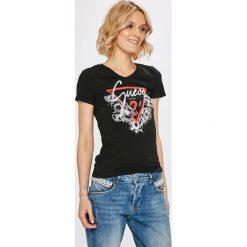 Guess Jeans - Top. Szare topy damskie Guess Jeans, z nadrukiem, z bawełny, z krótkim rękawem. Za 139.90 zł.