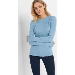 Prążkowany sweter. Niebieskie swetry damskie Orsay, z dzianiny, z okrągłym kołnierzem. Za 69.99 zł.